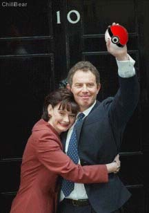 Tony Blair celebrates his victory with his wife.