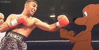Prince Naseem failing to hit his opponent